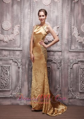 Sequin Gold Bateau Beading Prom Evening Dress Brush