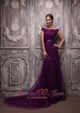 Off The Shoulder Dark Purple Mermaid Prom Evening Dress
