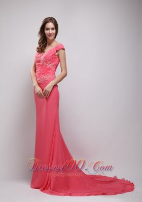 Appliques Coral Red V-neck Chiffon Prom Evening Dress
