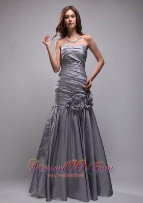 Gray Hand Made Flowers Evening Prom Dress Sweetheart