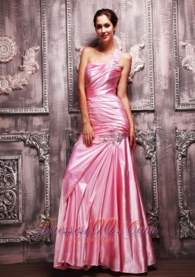 Rose Pink One Shoulder Beaded Evening Dress For Prom