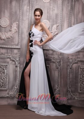 Colorful One Shoulder Prom Evening Dress Hand Flowers