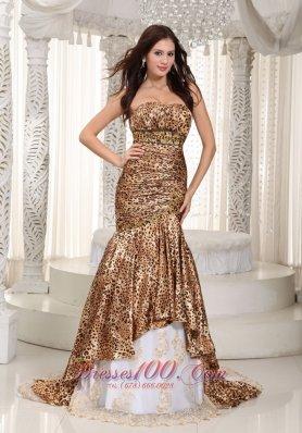 Leopard Sweetheart Beaded Mermaid Prom Celebrity Dress