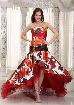 Colorful Printing High-low Beading Celebrity Prom Dress