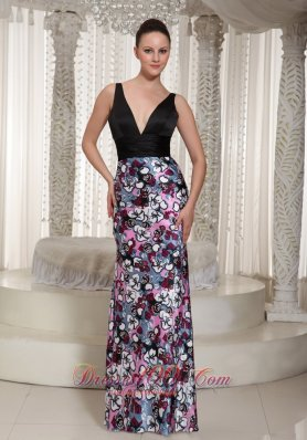 Multi-colored Printing V-neck Prom Evening Dress Ruched