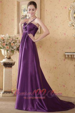 One Shoulder Beading Eggplant Ruch Prom Graduation Dress