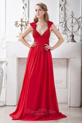 V-neck Beading Red Evening Prom Dress Brush Train