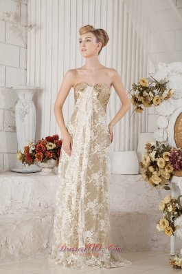 Gold Sequins and White Lace Champagne Prom Celebrity Dress