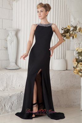 Black Beaded Bateau Little Black Dress Chiffon Brush