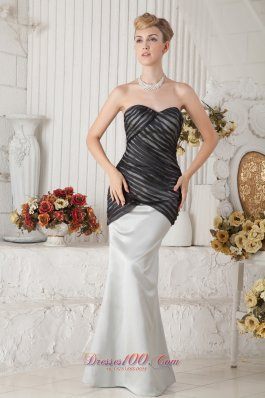 Ivory and Black Mermaid Ruched Prom Evening Dress