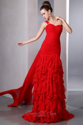Bright Red One Shoulder Prom Evening Dress Ruffles