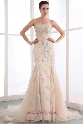Sequins Champagne Mermaid Court Pageant Prom Dress