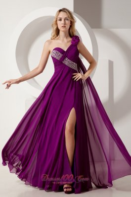 Purple One Shoulder Beading Prom Homecoming Dress