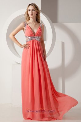 Watermelon Sequins V-neck Prom Evening Dress Chiffon