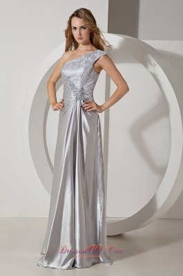 One Shoulder Beading Lace Silver Prom Evening Dress