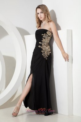 Apliques Black High Slit Prom Celebrity Dresses
