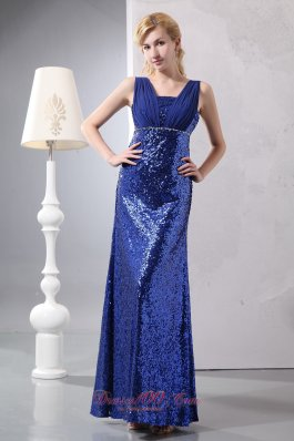 Sequins Ruched Straps Blue Prom Dress Fomal Evening