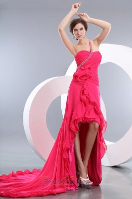 Hot Pink One Shoulder High-low Prom Evening Dress