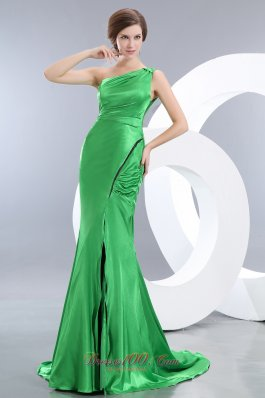Spring Green One Shoulder Mermaid Prom Evening Dress