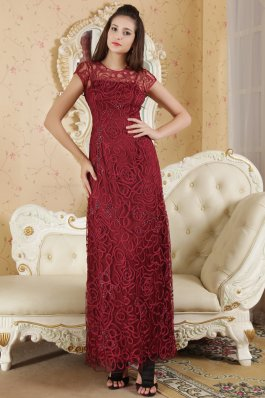 Beading Bateau Burgundy Mother Of The Bride Dress
