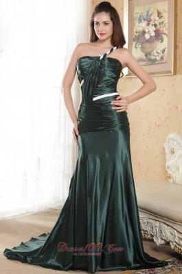 Dark Green One Shoulder Ruched Prom Evening Dress Court Train