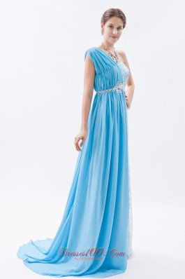 One Shoulder Baby Blue Lace Prom Evening Dress Beaded