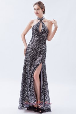 Silver Sequin High-neck Prom Celebrity Dress Brush