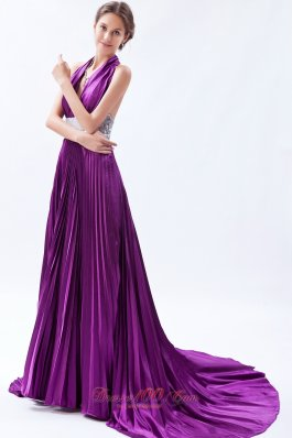 Sequin Halter Pleats Eggplant Purple Evening Dress