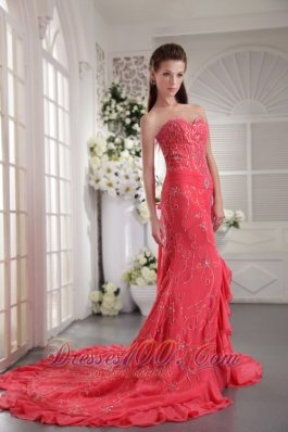 Appliques Watermelon Mermaid Prom Evening Dress