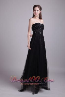 Black Appliques Prom Evening Dress Tulle Sweetheart