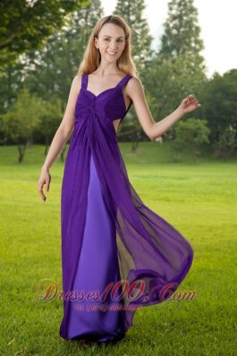 Purple Straps High Slit Ruched Evening Dress Prom