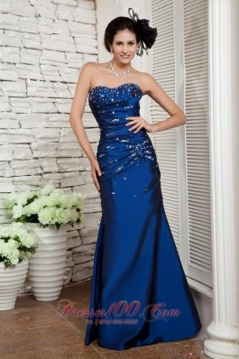 Navy Blue Prom Evening Dress Beading Ruch Sweetheart