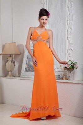 Orange Red Halter Pageant Evening Dress Beaded Chiffon