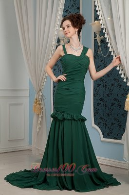 Dark Green Ruched Straps Mother Of Bride Dress Train