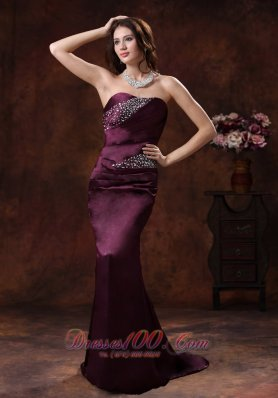 Dark Purple Beaded Mermaid Mother Of The Bride Evening Dress