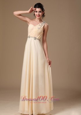 Beaded One Shoulder Ruch Champagne Prom Evening Dress