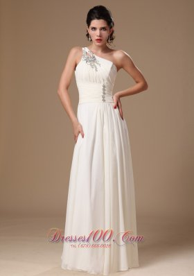One Shoulder White Chiffon Beaded Prom Evening Gowns
