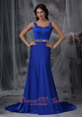 Straps Beaded Royal Blue Prom Evening Dress Court Train