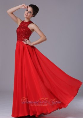 Paillette High Neck Red Celebrity Prom Evening Dress Chiffon