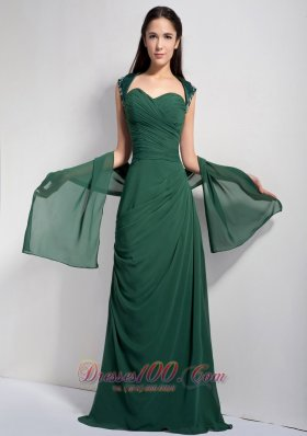 Ruched Dark Green Mother Of The Brides Dress Chiffon