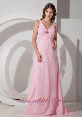 Baby Pink V-neck Prom Dress Beading Chiffon Brush