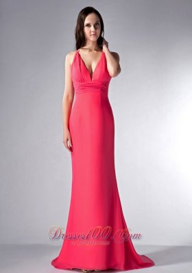 Coral Red V-neck Bridesmaid Dress Brush Train Chiffon
