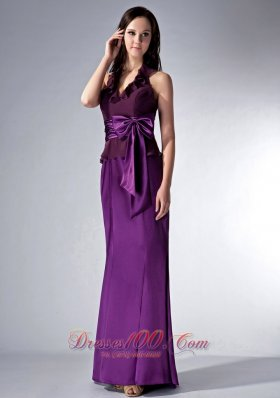 Halter Eggplant Purple Bridesmaid Dress Bow Train