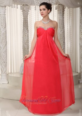 Beaded Sweetheart Red Prom Homecoming Dress For Party