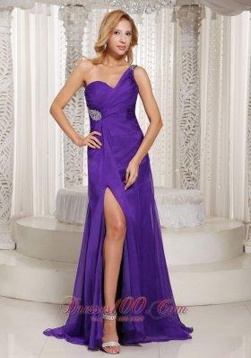 Purple Beaded One Shoulder Slit Prom Celebrity Dress