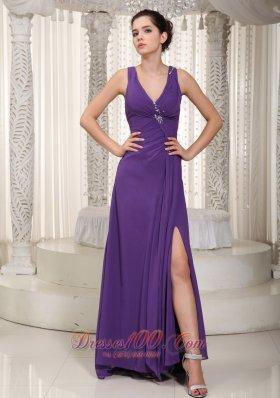 V-neck Beading Slit Purple Prom Pageant Dress Chiffon