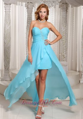 Ruch High-low Aque Blue Prom Dress For Formal Evening