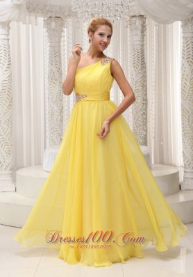 Beaded One Shoulder Ruched Yellow Evening Graduation Dress