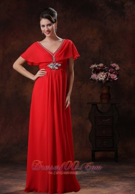 Red V-neck Prom Evening Dress Chiffon Short Sleeves