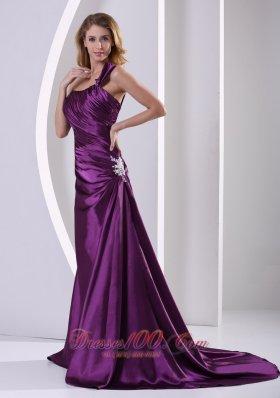 Appliques Eggplant Purple Evening Mother Dress Shoulder